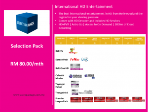 Astro Package Value Pack Selection Detail